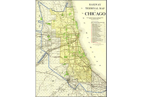 Chicago Railway Map, 1915