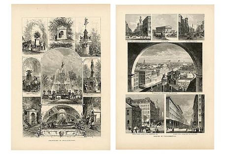1870s Philadelphia Landscapes, Pair