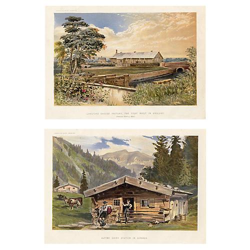 English Dairy Farming Prints, Pair
