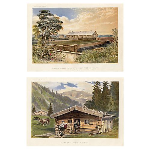 English Dairy Farming Prints, Pair