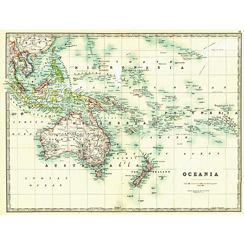 Oceania, 1909 Map