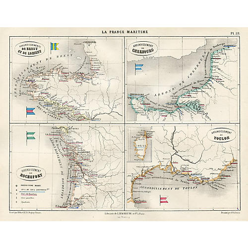 French Maritime Map, 1865