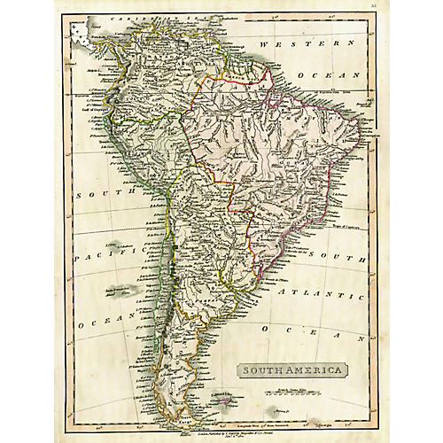 Map of South America, 1824