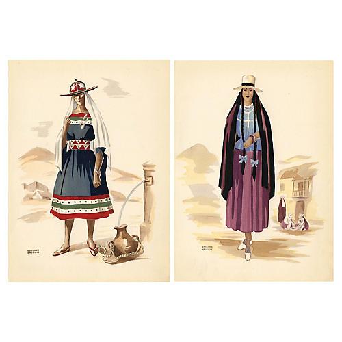 South American Fashion Prints, Pair