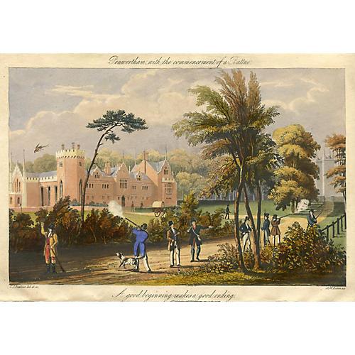 English Pheasant Hunting Print, 1837