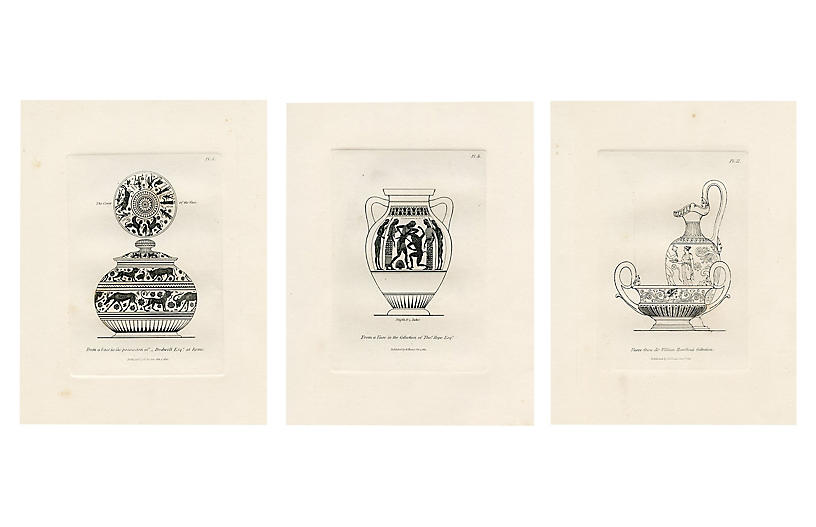 1814 Italian Vase Prints, S/3