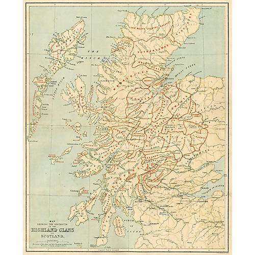Map of Highland Clans of Scotland, 1887