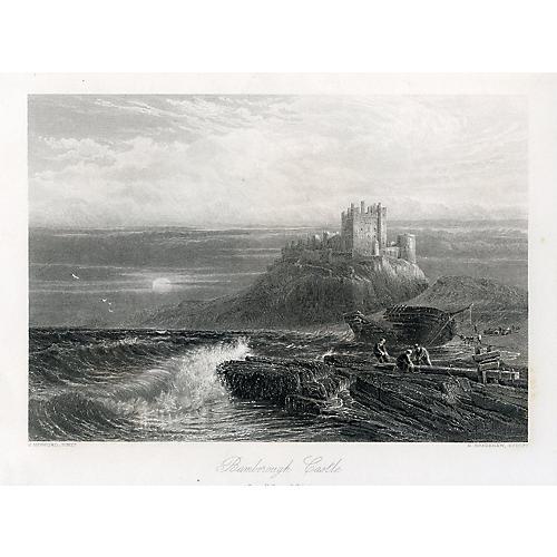 Bamborough Castle, 1870s Engraving