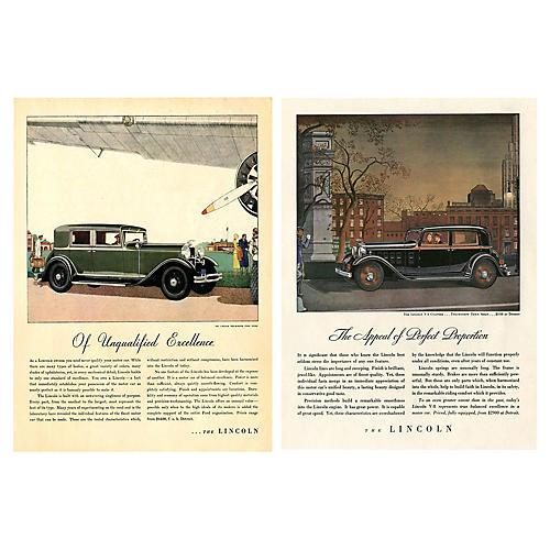Vintage Lincoln Town Sedan Ads, Pair