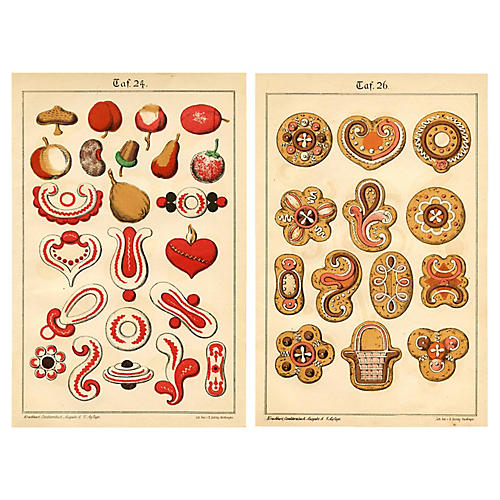 19th-C. German Baking Prints, Pair