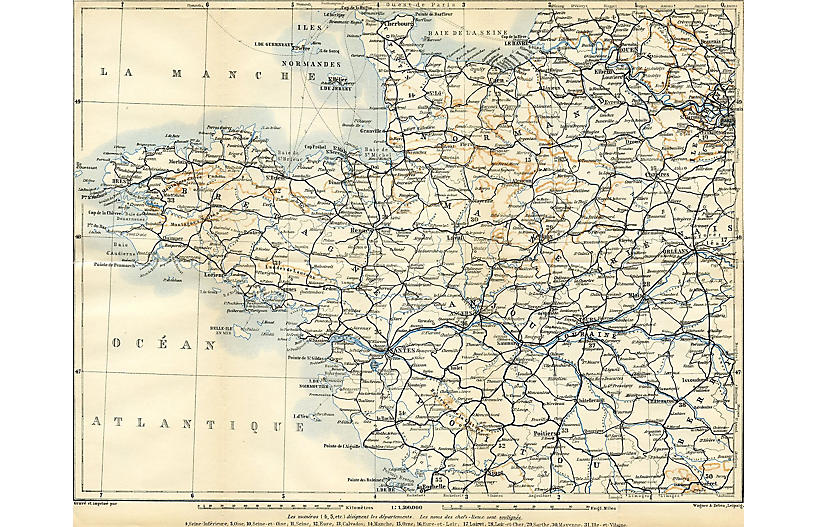 Western France Tourist Map, 1909