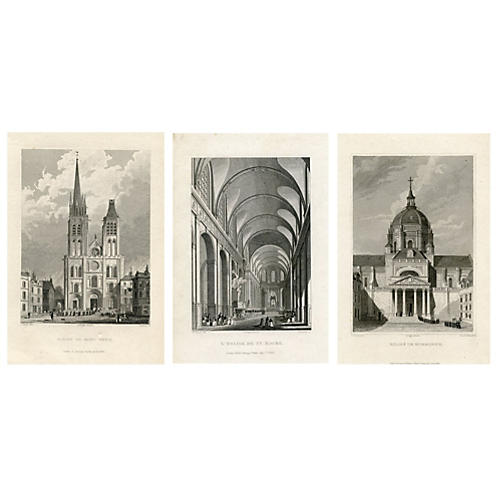 Churches of Paris, S/3 Engravings