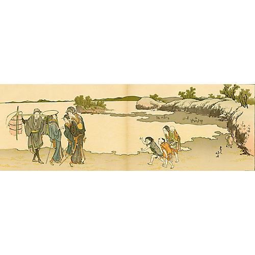 Walk by the Sea by Katsushika Hokusai