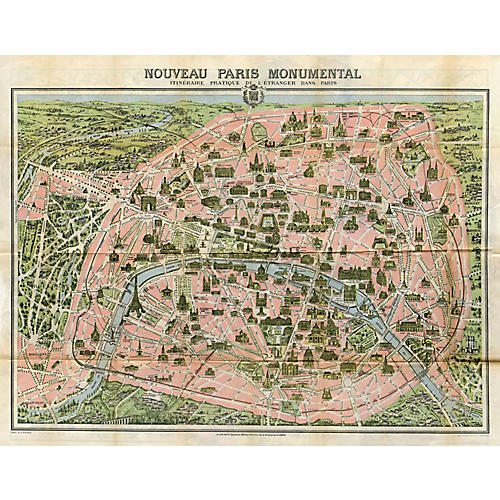 1930s Tourist Map of Paris
