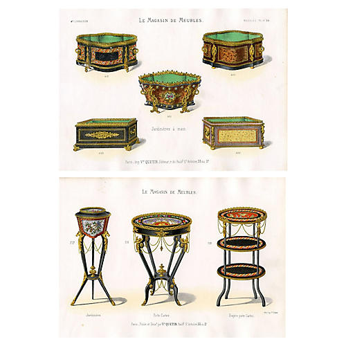 1860s French Furniture Prints, Pair