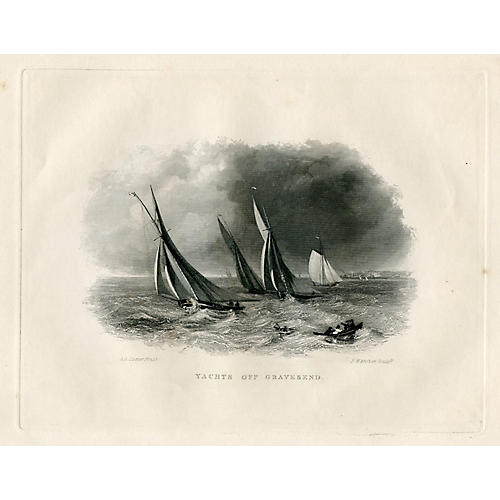Yachts off Gravesend Engraving, 1843