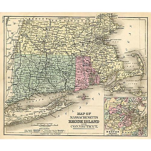 Massachusetts Map, 1877
