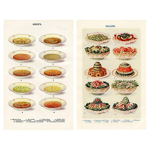 Soup & Salad Prints, Pair