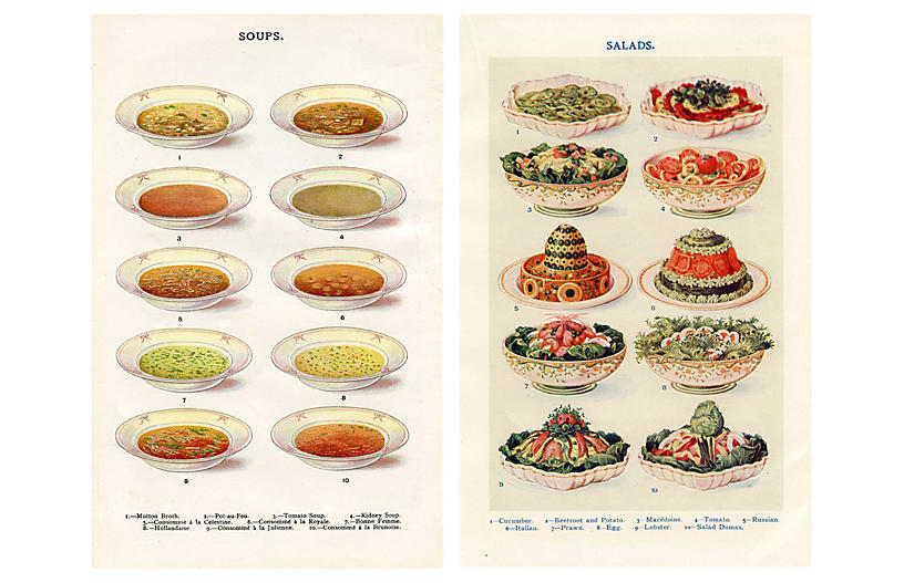 Soup & Salad Prints, Pair