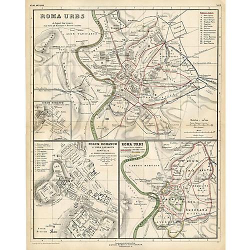 Ancient Rome w/ Forum Map, 1892