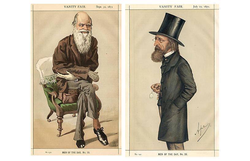 1871 Darwin & Tennyson Portraits, Pair