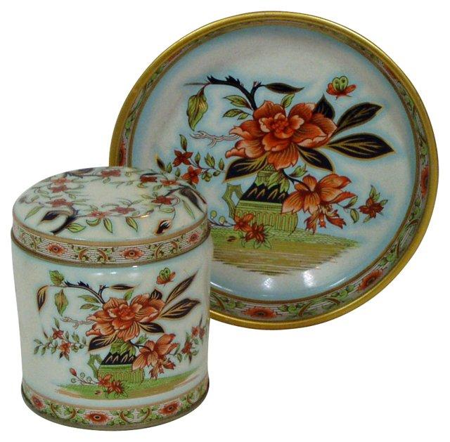 Chinoiserie Pin Tray & Dresser Jar