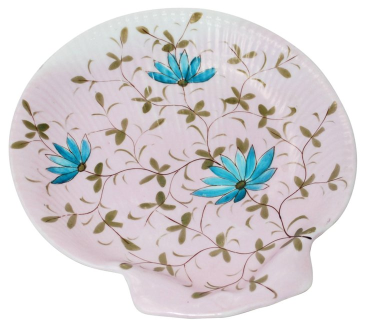 Hand-Painted  Floral Shell Plate