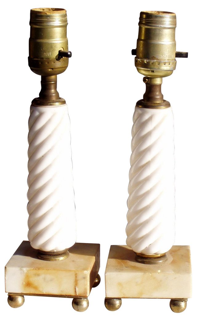 Milk Glass & Marble Accent Lamps, Pair