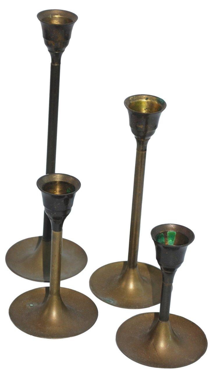 Brass Graduated Candleholders, S/4