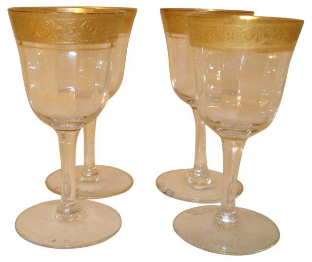 Gilt-Trim Cordials, Set of 4