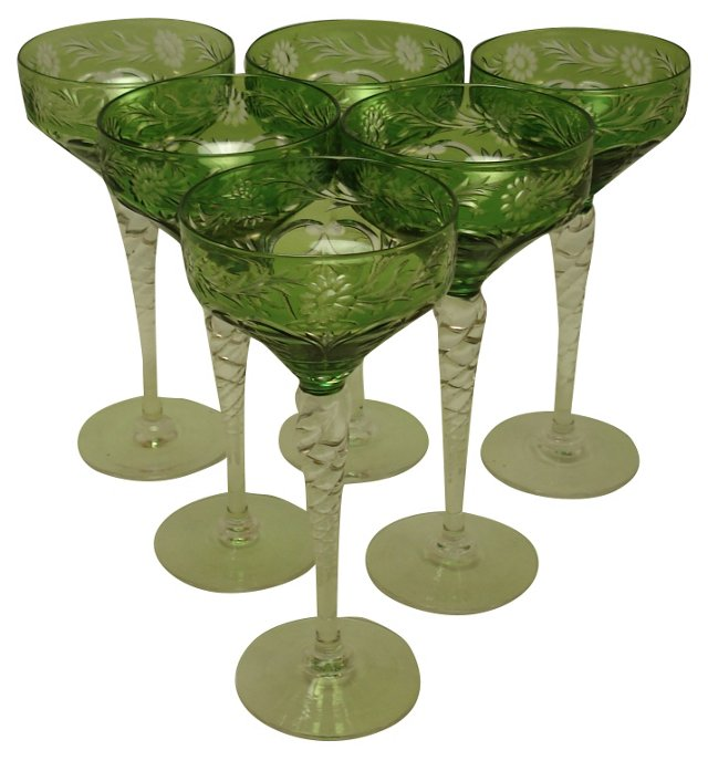 Green English Crystal Wine Glasses, S/6