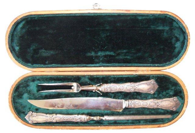 Sterling Silver Carving Set, 3 Pcs