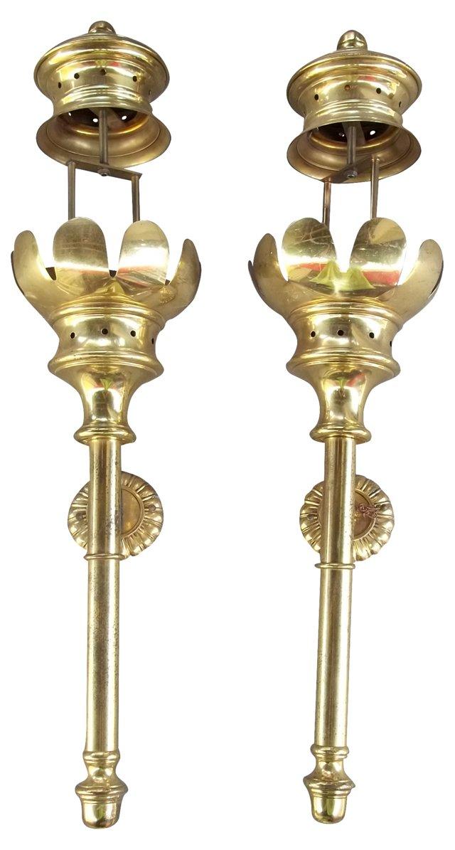 Long Brass Sconces, Pair