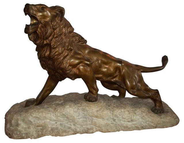 Bronze Lion on Stone