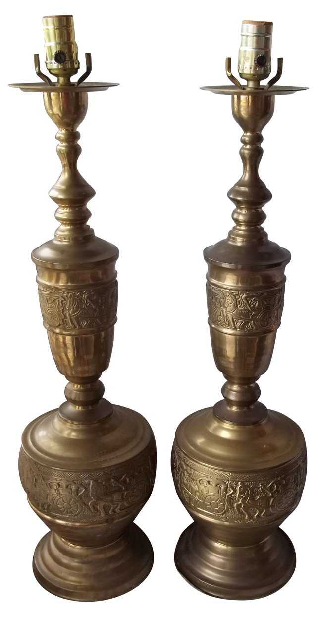 Brass Carriage Lamps, Pair