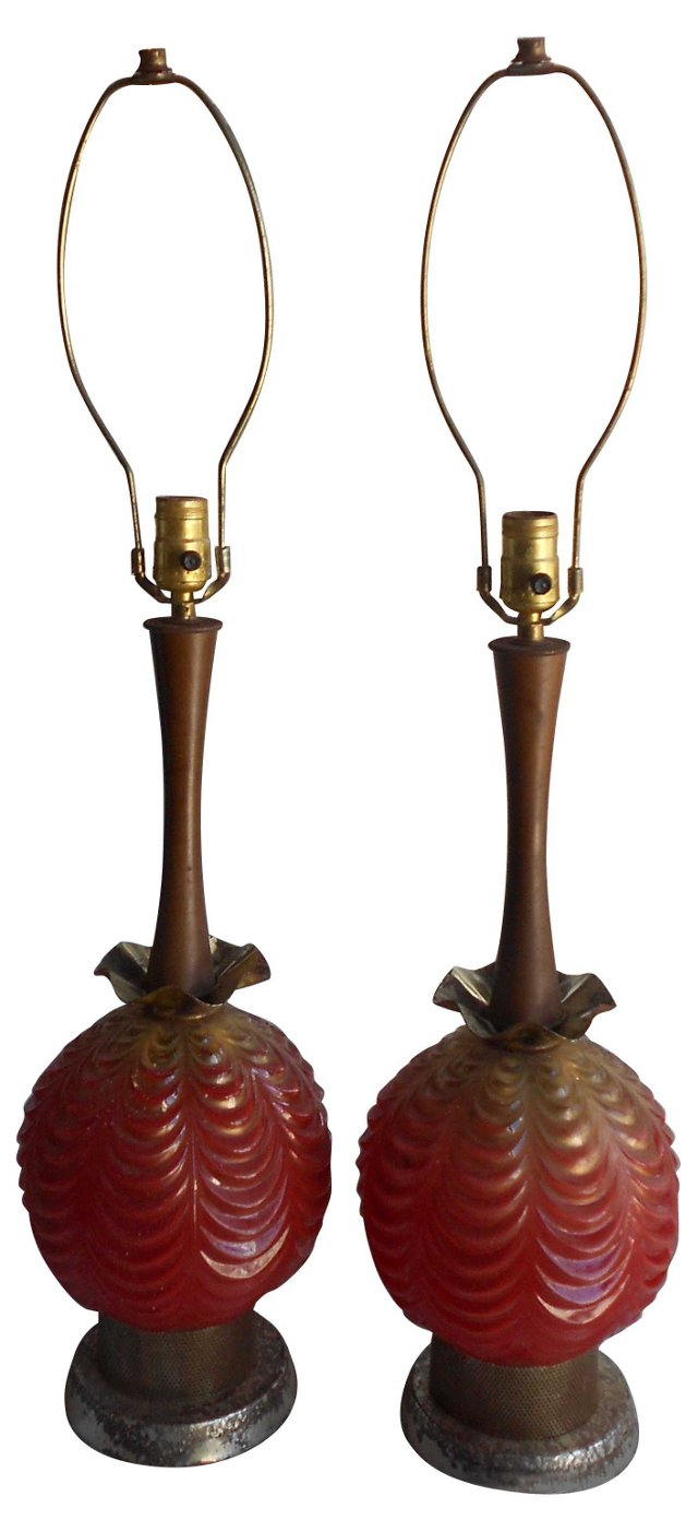 Atomic-Style Glass Lamps, Pair