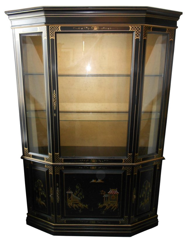 Hand-Painted Asian-Style Cabinet