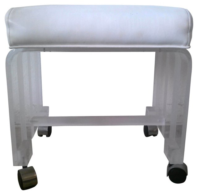 Striped Lucite Vanity Stool