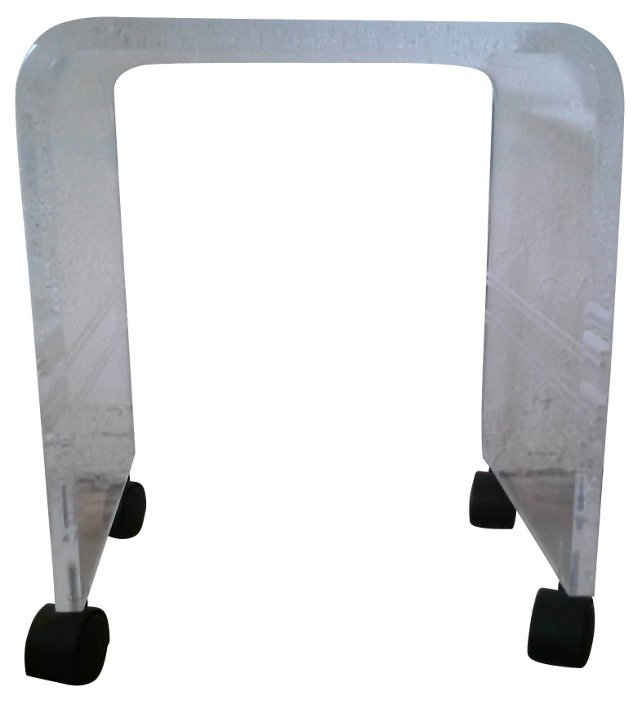 Clear Striped Lucite Vanity Stool