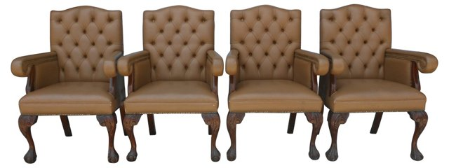 Tufted Leather   Armchairs, S/4