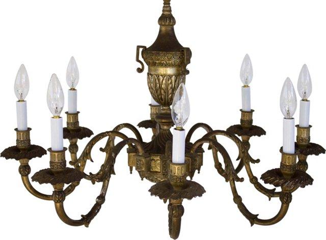 Antique 8-Arm Brass Chandelier