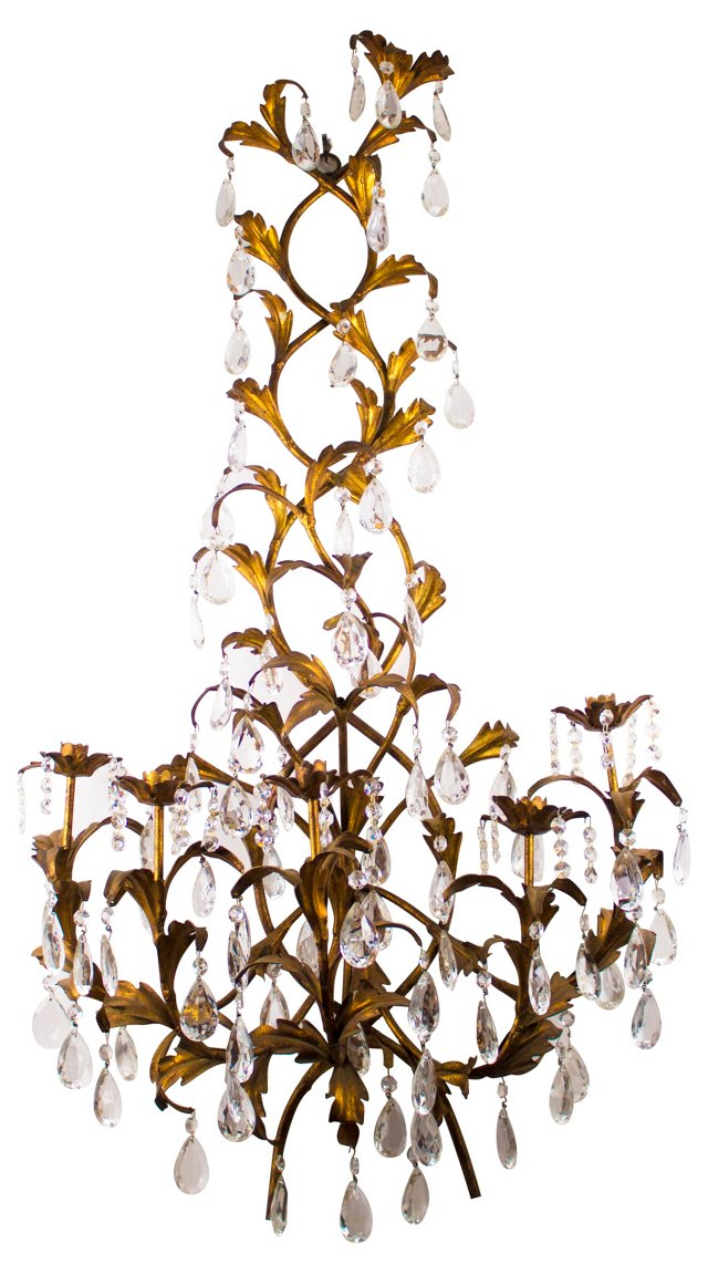 Gold Tole Sconce w/ Crystals