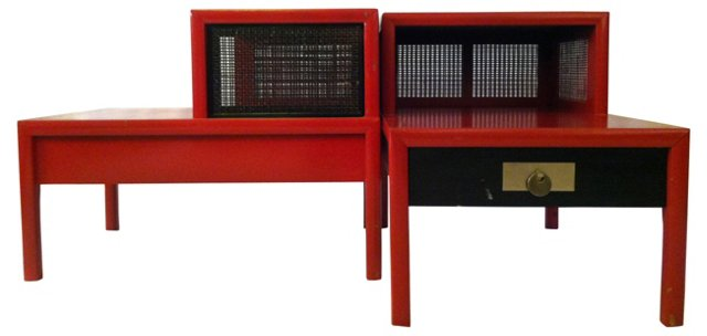Red Baker Side Tables, Pair