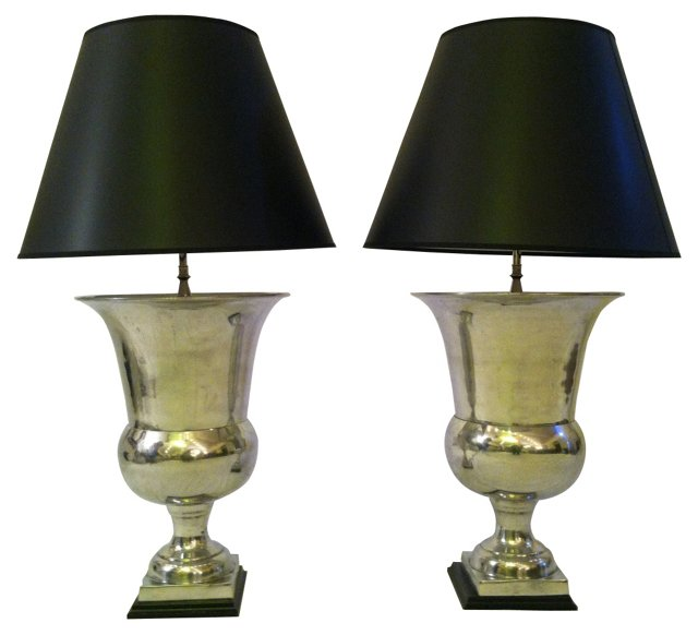Pewter Trophy Lamps, Pair