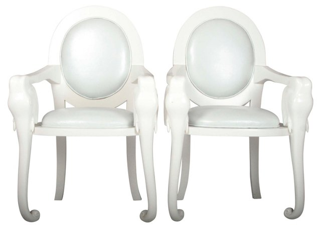 Lacquered Elephant Armchairs, Pair