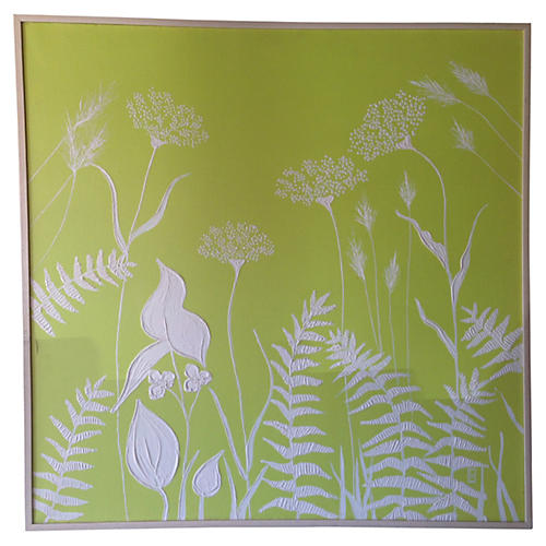 Green & White Floral Painting