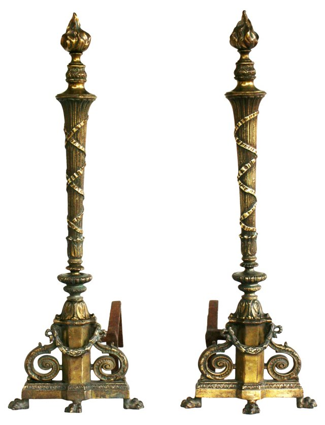 Brass French-Style Andirons