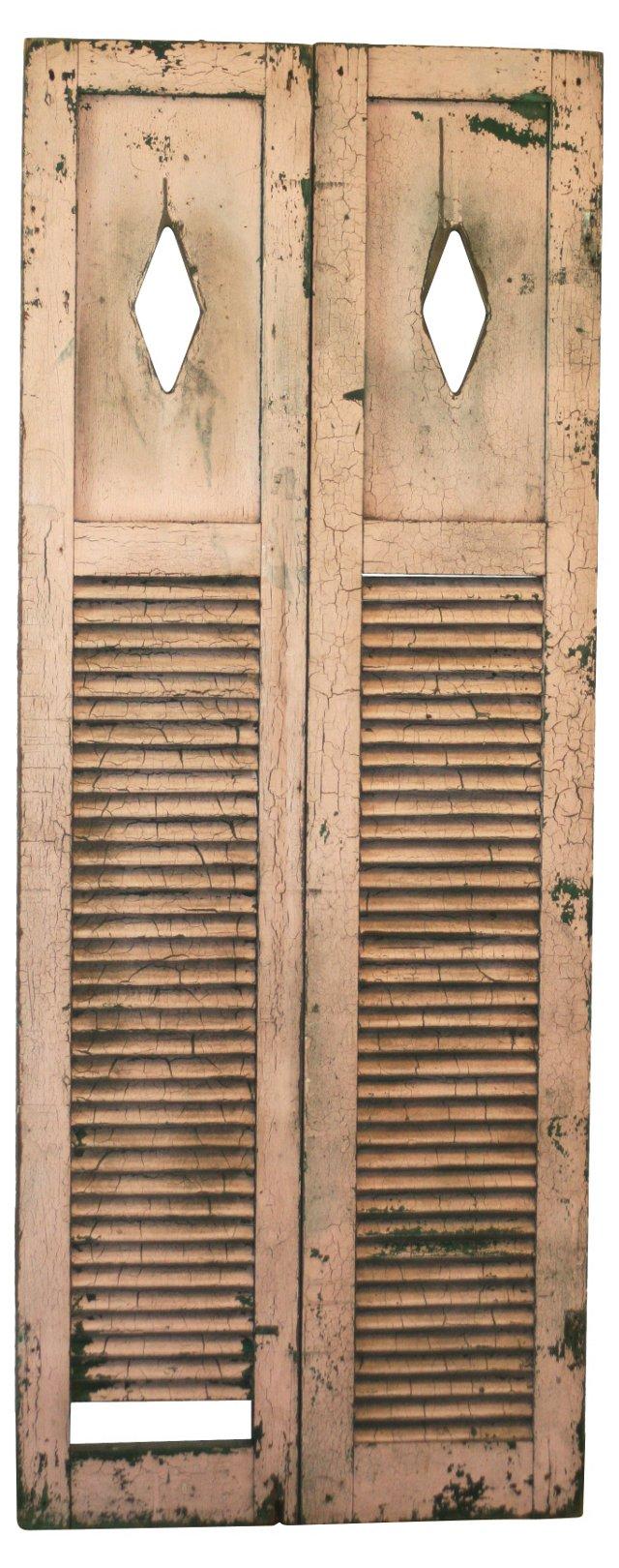 Antique Farmhouse Shutters, Pair