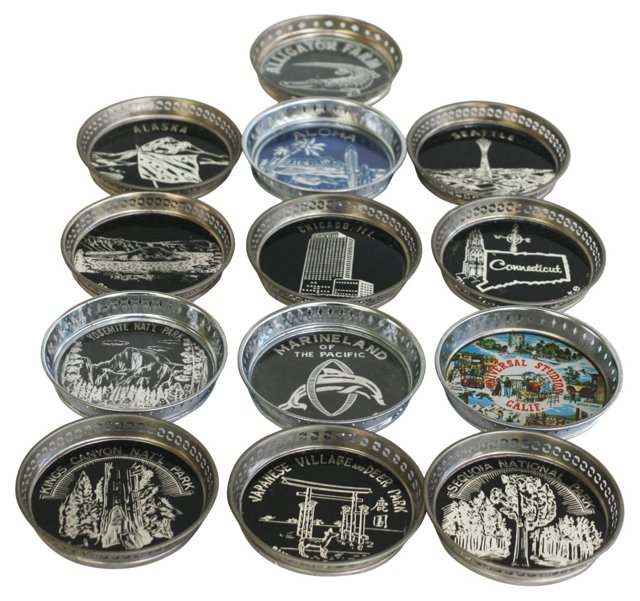 1950s Souvenir Coasters, 13 Pcs
