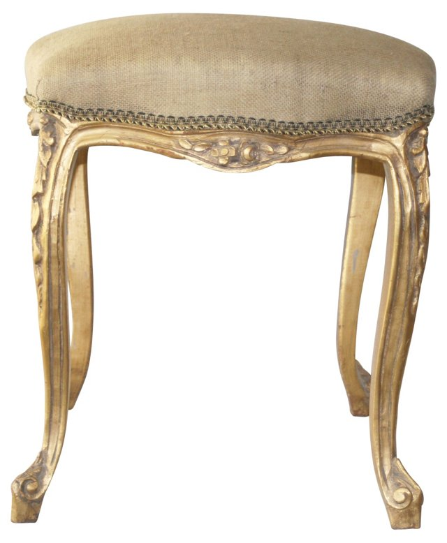 French Vanity Stool w/ Burlap
